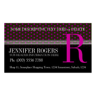 Deep Pink Polka Dots Pattern Black Business Cards