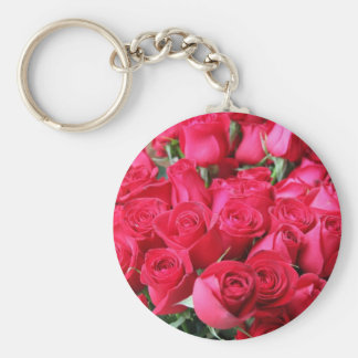 Deep Pink Rose Bouquet Key Chains