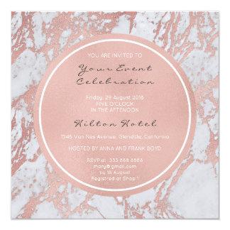 Deep Pink Rose Gold Circle Marble Ivory Herringbon Card