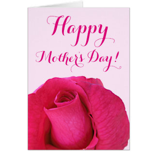 Deep Pink Rose Happy Mother's Day Note Card