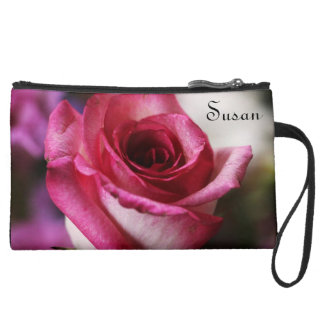 Deep Pink Rose in Bloom Wristlet Purses