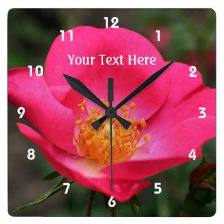 Deep Pink Rose In Bloom Flower Wall Clocks