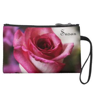 Deep Pink Rose in Bloom Wristlet Purse