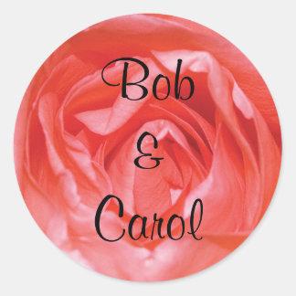 Deep Pink Rose Personalized Wedding Round Sticker