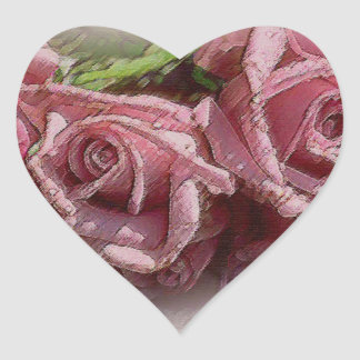 Deep Pink Roses - Heart Sticker