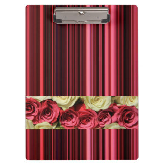 Deep pink roses & stripes by TheRoseGarden Clipboards
