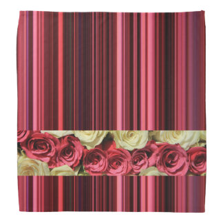 Deep pink roses & stripes by TheRoseGarden Do-rags