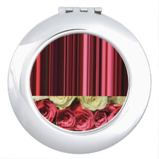 Deep pink roses & stripes by TheRoseGarden Makeup Mirrors