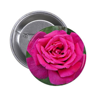 Deep pink single rose 6 cm round badge