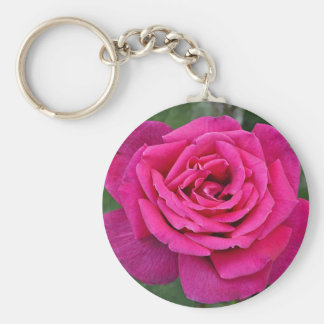 Deep pink single rose basic round button key ring