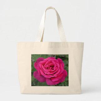 Deep pink single rose large tote bag