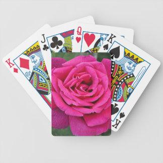 Deep pink single rose poker deck