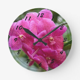 Deep Pink Vanda Orchid Round Clock
