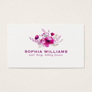 Deep Pink Watercolors Flower Bouquet Business Card