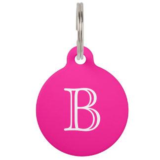 Deep Pink White Monogram Initial Name Simple Pet Tag