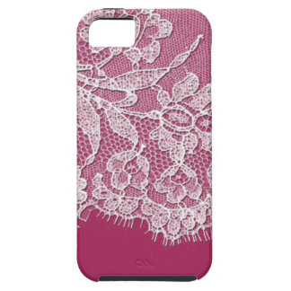 Deep Pink with White Lace iPhone 5 Cases