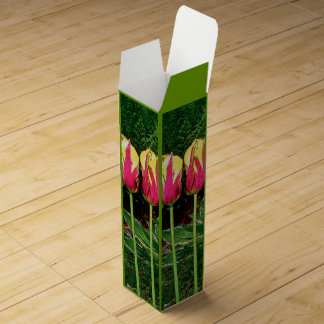 """""""DEEP PINK &YELLOW TULIPS""""(REPEATED ON ALL SIDES) WINE GIFT BOXES"""