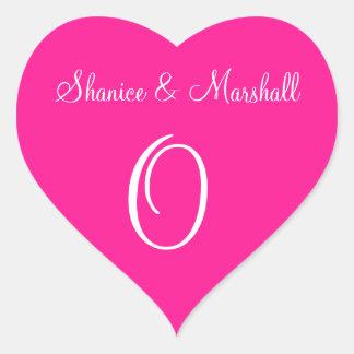 Deep Pink Your Own Initial Weddings Heart Sticker