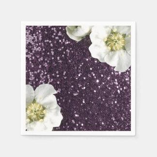 Deep Purple Amethyst  Jasmine Glitter Sequin Disposable Napkin
