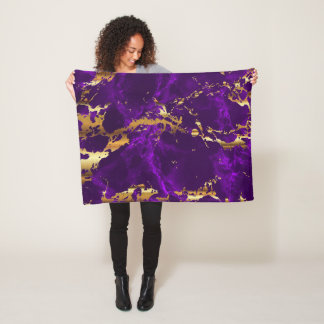 Deep Purple and Gold Marble Fleece Blanket