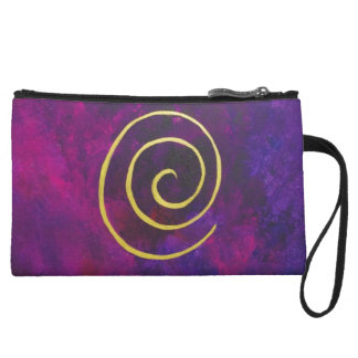 Deep Purple And Gold Modern Abstract Art Painting Wristlet Clutch