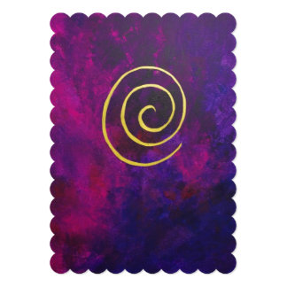 Deep Purple And Gold Modern Abstract Art Painting Invitation
