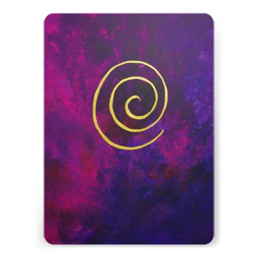 Deep Purple And Gold Modern Abstract Art Painting Custom Announcement