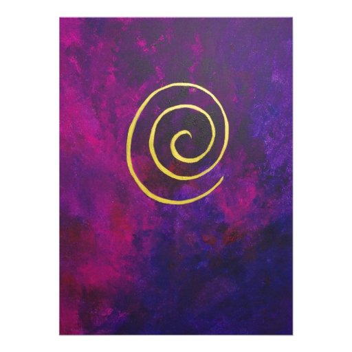 Deep Purple And Gold Modern Abstract Art Painting Personalized Invite