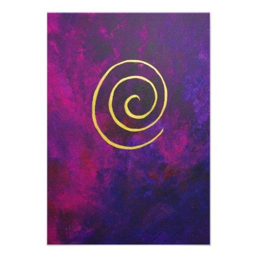 Deep Purple And Gold Modern Abstract Art Painting Custom Invitations