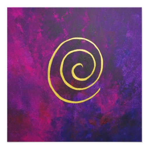 Deep Purple And Gold Modern Abstract Art Painting Personalized Invitation