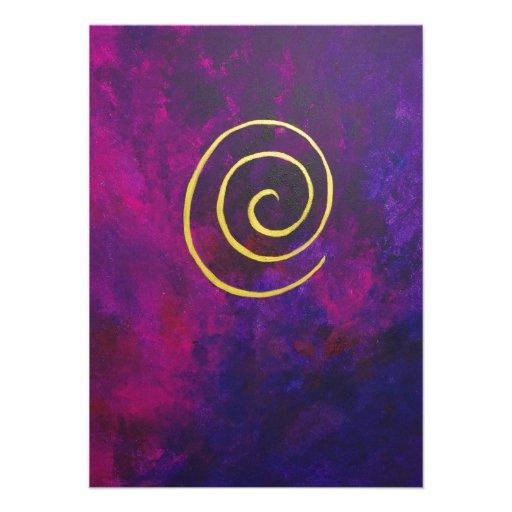 Deep Purple And Gold Modern Abstract Art Painting Custom Invite
