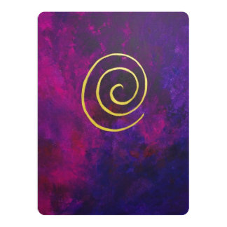 Deep Purple And Gold Modern Abstract Art Painting Personalized Announcements