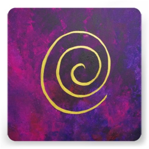 Deep Purple And Gold Modern Abstract Art Painting Invites
