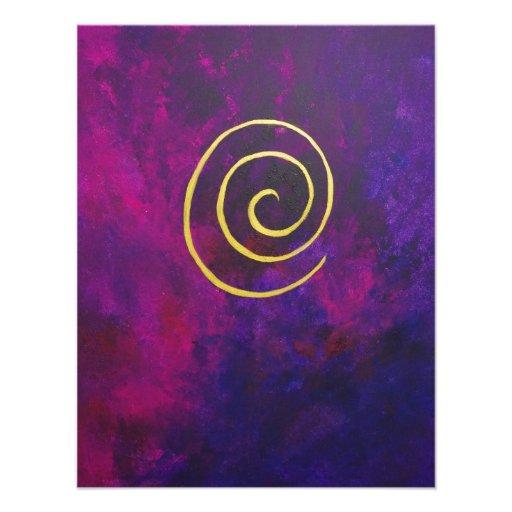 Deep Purple And Gold Modern Abstract Art Painting Custom Invitation