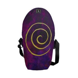 Deep Purple And Gold Modern Abstract Art Painting Messenger Bag