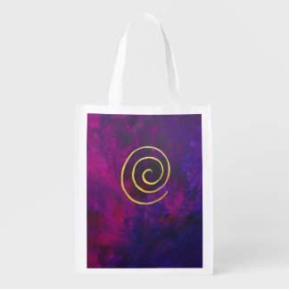 Deep Purple And Gold Modern Abstract Art Painting Market Tote