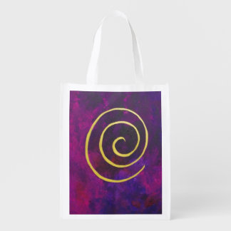 Deep Purple And Gold Modern Abstract Art Painting Grocery Bags
