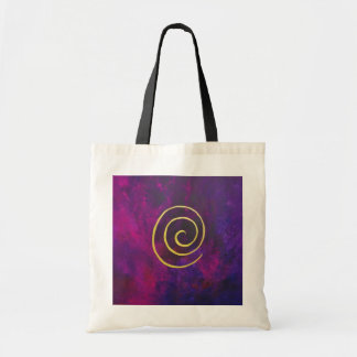 Deep Purple And Gold Modern Abstract Art Painting Bags