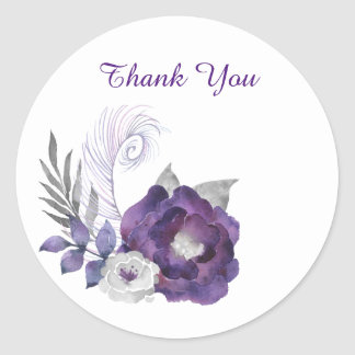 Deep Purple and Silver Floral Group With Feather Classic Round Sticker