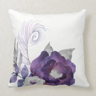 Deep Purple and Silver Floral Group With Feather Cushion