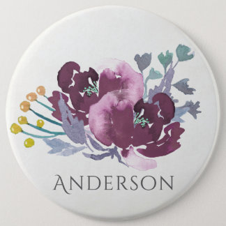 DEEP PURPLE, AQUA BLUE WATERCOLOUR FLORAL MONOGRAM 6 CM ROUND BADGE