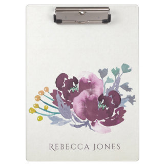 DEEP PURPLE, AQUA BLUE WATERCOLOUR FLORAL MONOGRAM CLIPBOARD