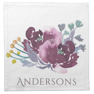 DEEP PURPLE, AQUA BLUE WATERCOLOUR FLORAL MONOGRAM NAPKIN