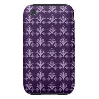 Deep Purple Art Nouveau Floral Abstract iPhone 3 Tough Cover