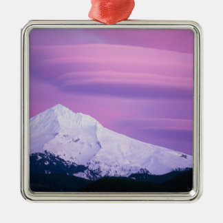Deep purple clouds surround Mount Hood, in Silver-Colored Square Decoration