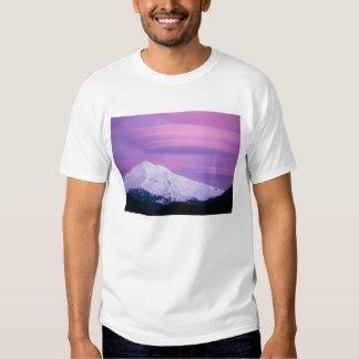 Deep purple clouds surround Mount Hood, in T Shirt