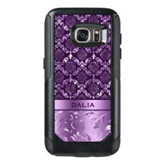 Deep Purple Floral Damask Metallic Texture OtterBox Samsung Galaxy S7 Case