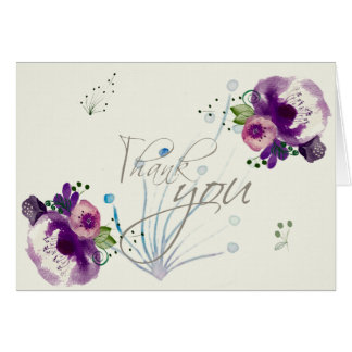 Deep Purple Flowers |Calligraphy Script Thank You Greeting Card
