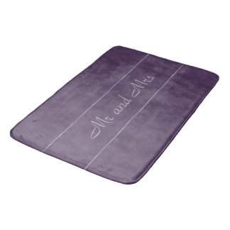 Deep Purple Lavender Grey Stripe Bath Mats
