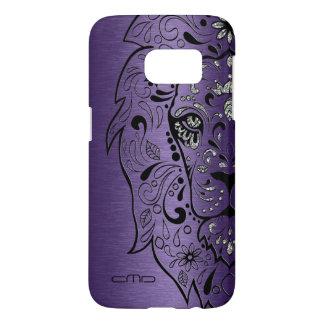 Deep Purple Metallic Texture Lion Sugar Skul